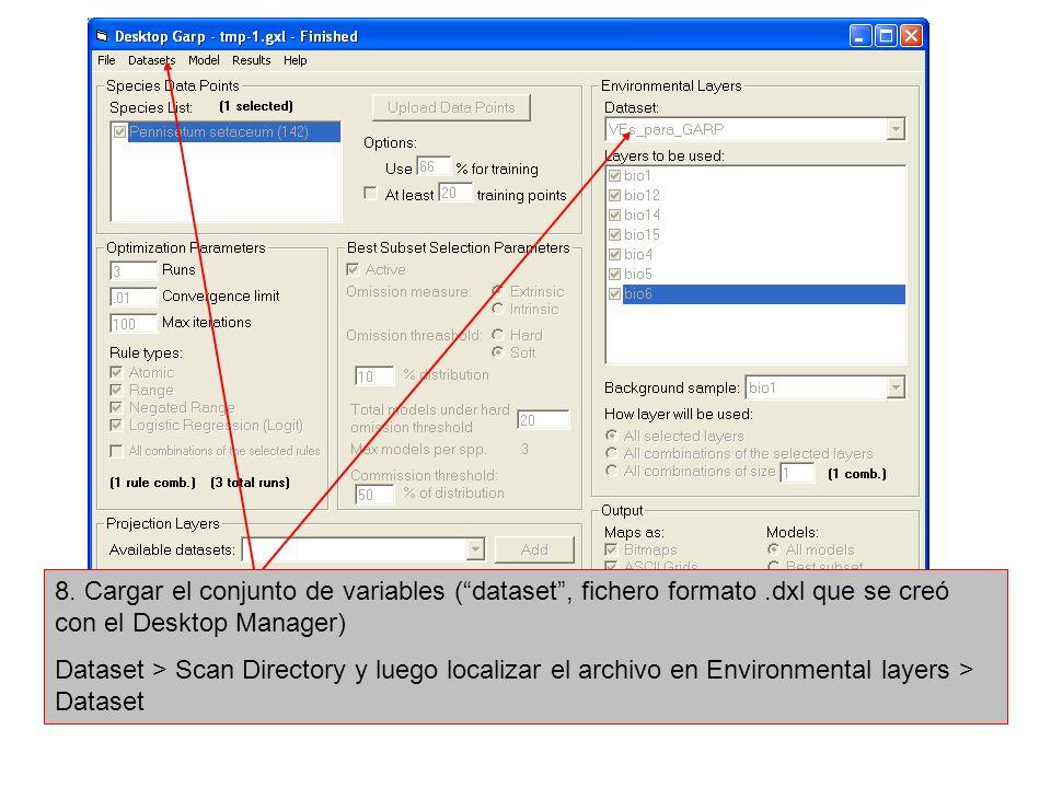 8. Cargar el conjunto de variables ( dataset , fichero formato