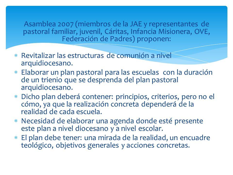 Asamblea 2007 (miembros de la JAE y representantes de pastoral familiar, juvenil, Cáritas, Infancia Misionera, OVE, Federación de Padres) proponen: