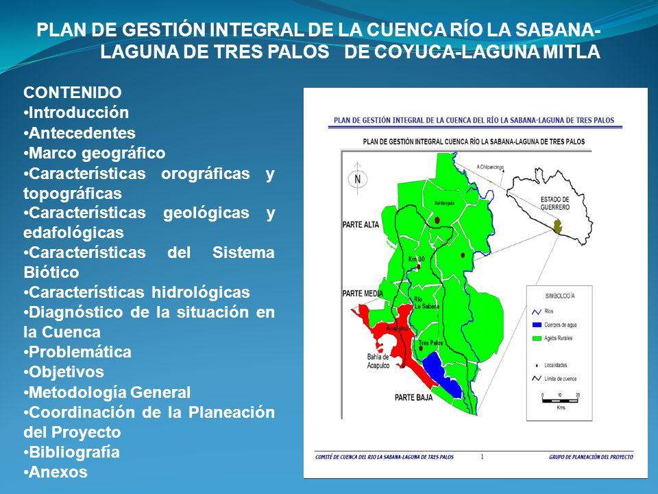 PLAN DE GESTIÓN INTEGRAL DE LA CUENCA RÍO LA SABANA-LAGUNA DE TRES PALOS DE COYUCA-LAGUNA MITLA