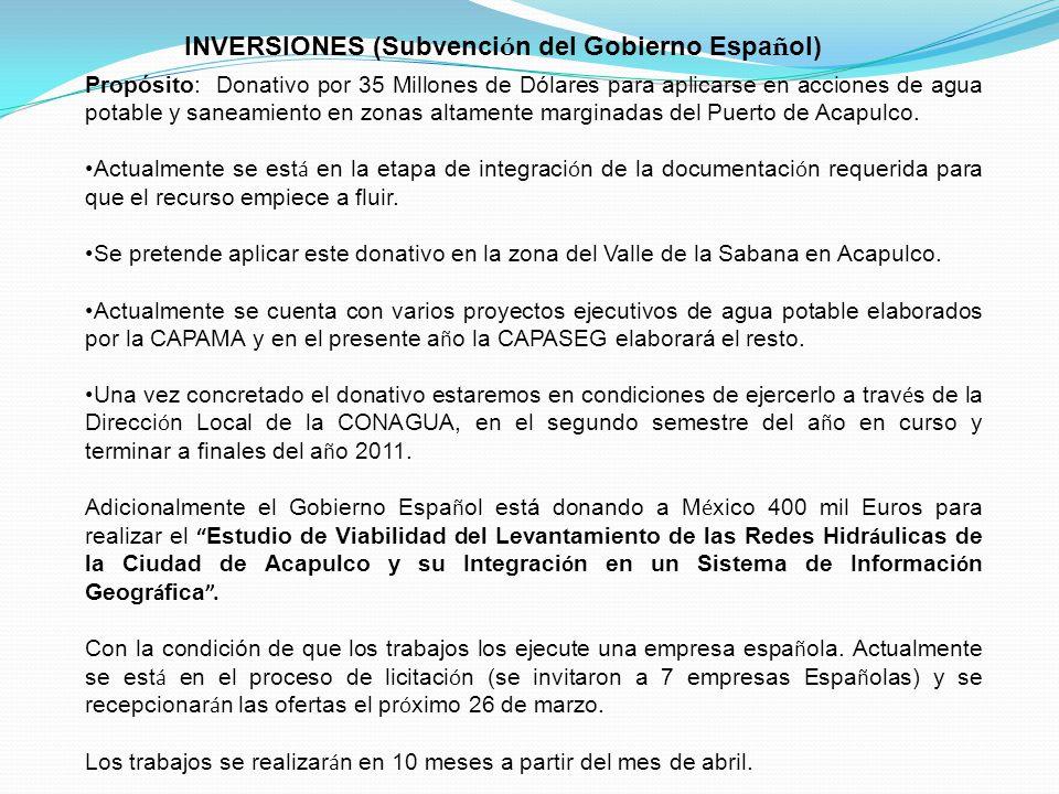 INVERSIONES (Subvención del Gobierno Español)