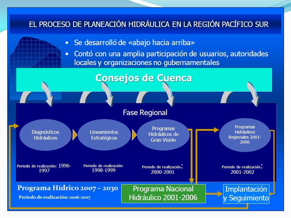 Programa Hídrico 2007 – 2030 Periodo de realización: 2006-2007. EL PROCESO DE PLANEACIÓN HIDRÁULICA EN LA REGIÓN PACÍFICO SUR.