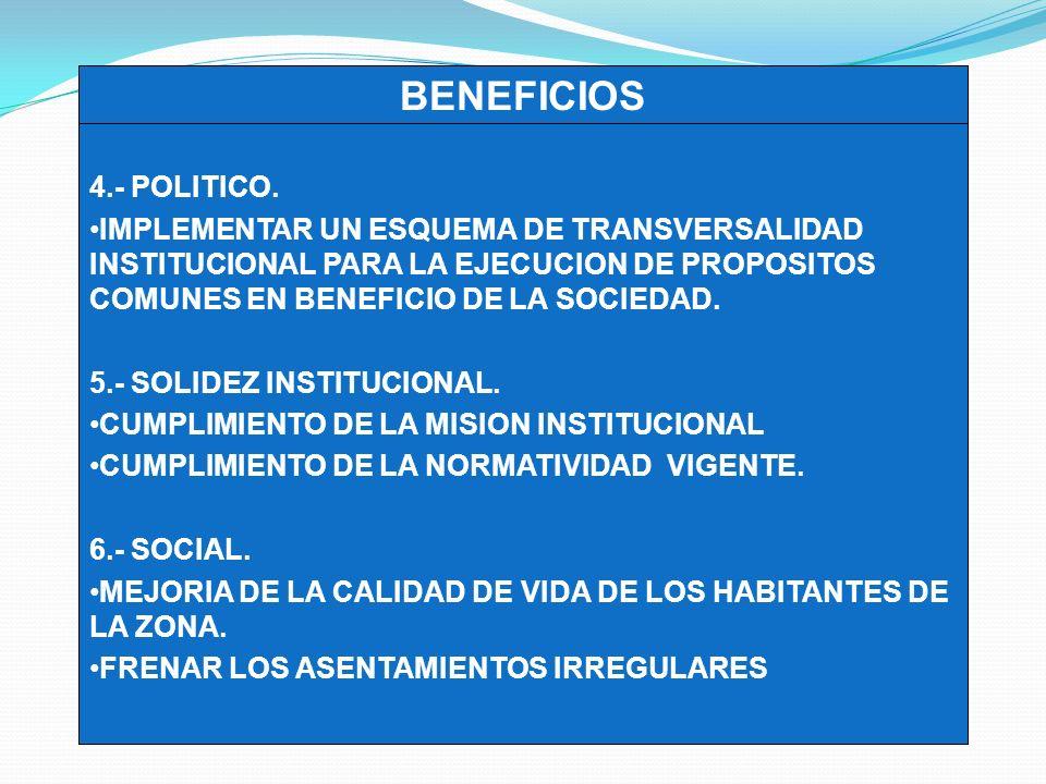 4.- POLITICO. IMPLEMENTAR UN ESQUEMA DE TRANSVERSALIDAD INSTITUCIONAL PARA LA EJECUCION DE PROPOSITOS COMUNES EN BENEFICIO DE LA SOCIEDAD.
