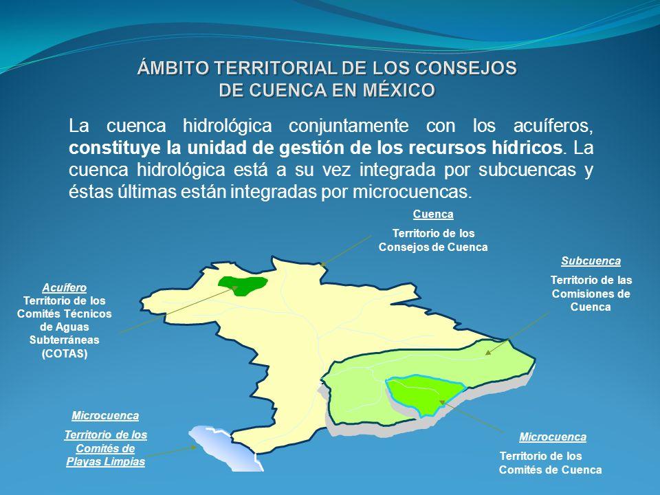 La cuenca hidrológica conjuntamente con los acuíferos, constituye la unidad de gestión de los recursos hídricos. La cuenca hidrológica está a su vez integrada por subcuencas y éstas últimas están integradas por microcuencas.