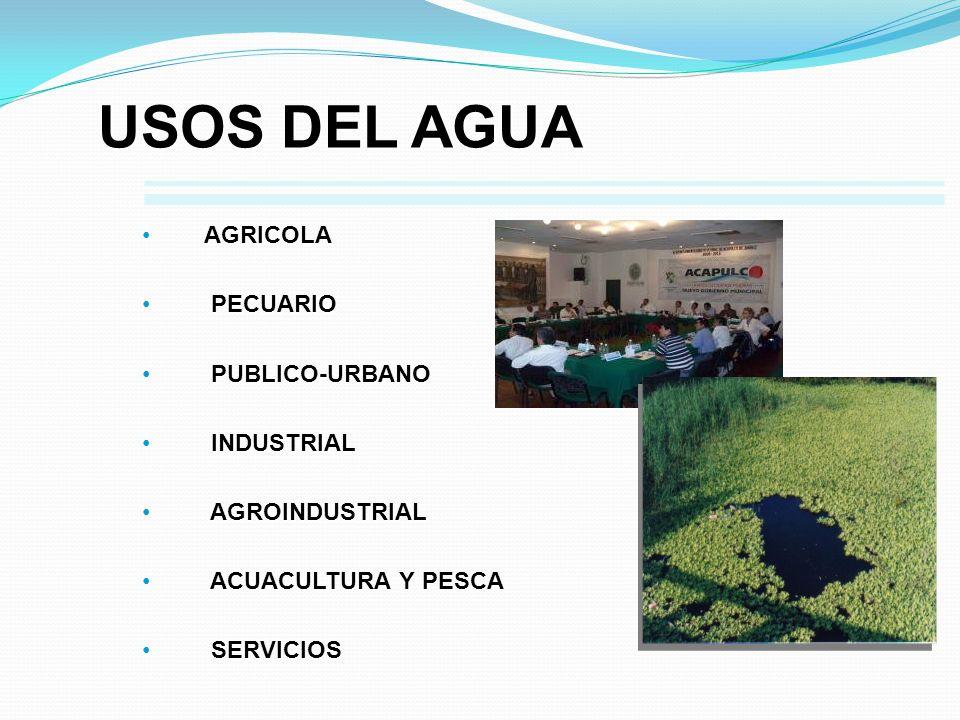 USOS DEL AGUA AGRICOLA PECUARIO PUBLICO-URBANO INDUSTRIAL