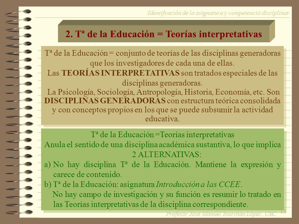 2. Tª de la Educación = Teorías interpretativas