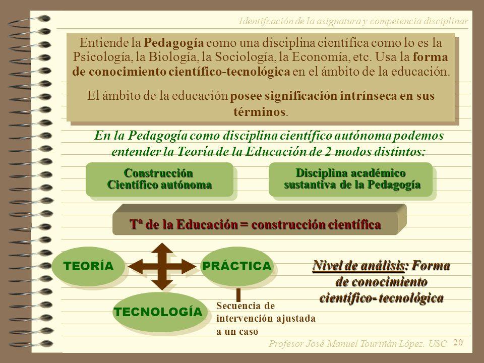 Tª de la Educación = construcción científica