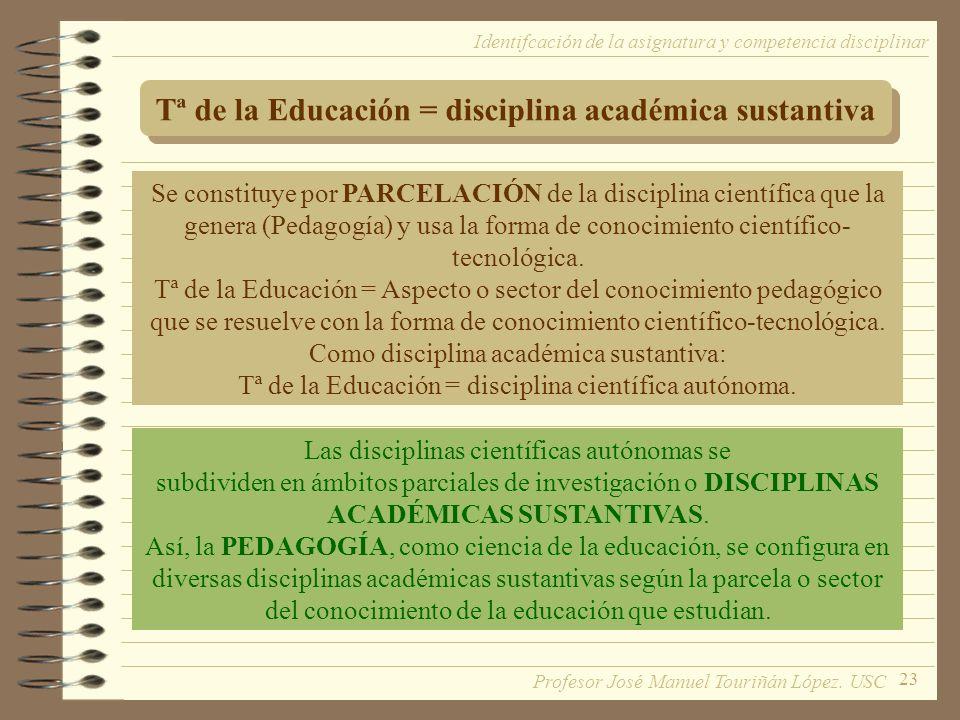 Tª de la Educación = disciplina académica sustantiva