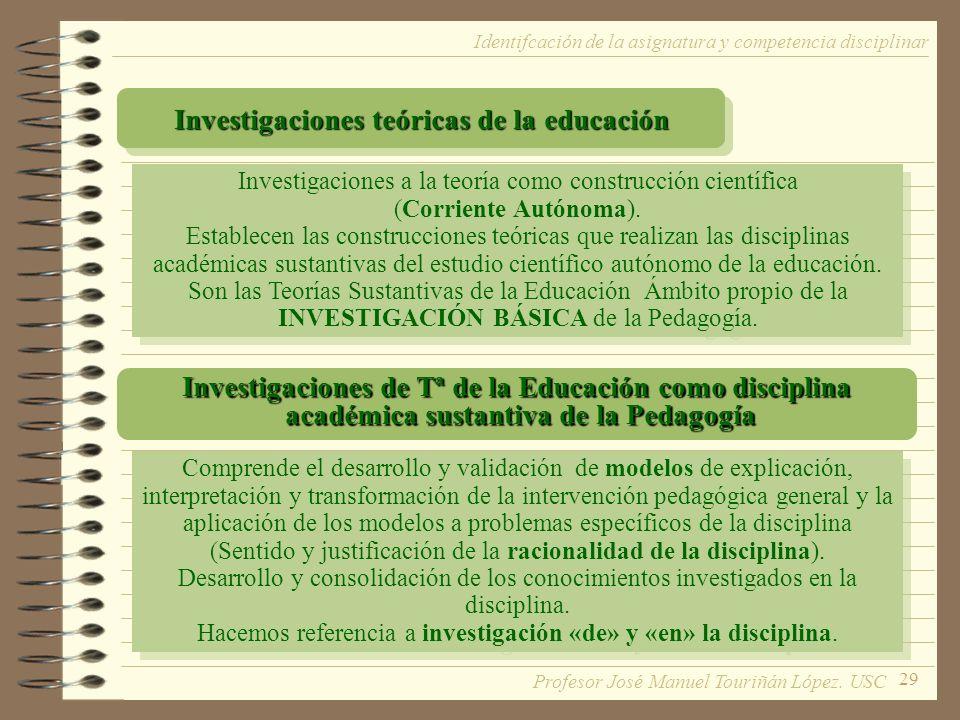 Investigaciones teóricas de la educación