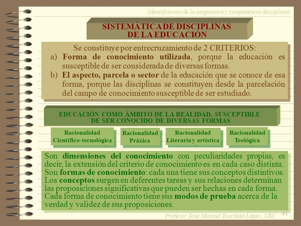SISTEMÁTICA DE DISCIPLINAS