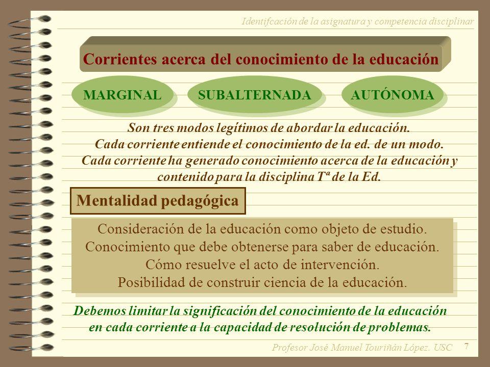 Corrientes acerca del conocimiento de la educación
