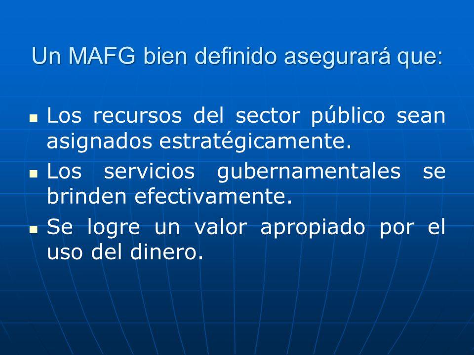 Un MAFG bien definido asegurará que: