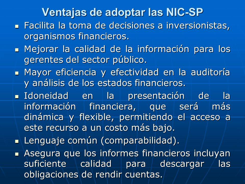 Ventajas de adoptar las NIC-SP