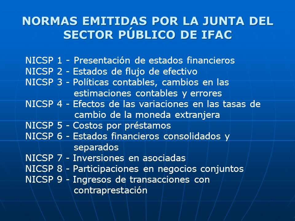 NORMAS EMITIDAS POR LA JUNTA DEL SECTOR PÚBLICO DE IFAC