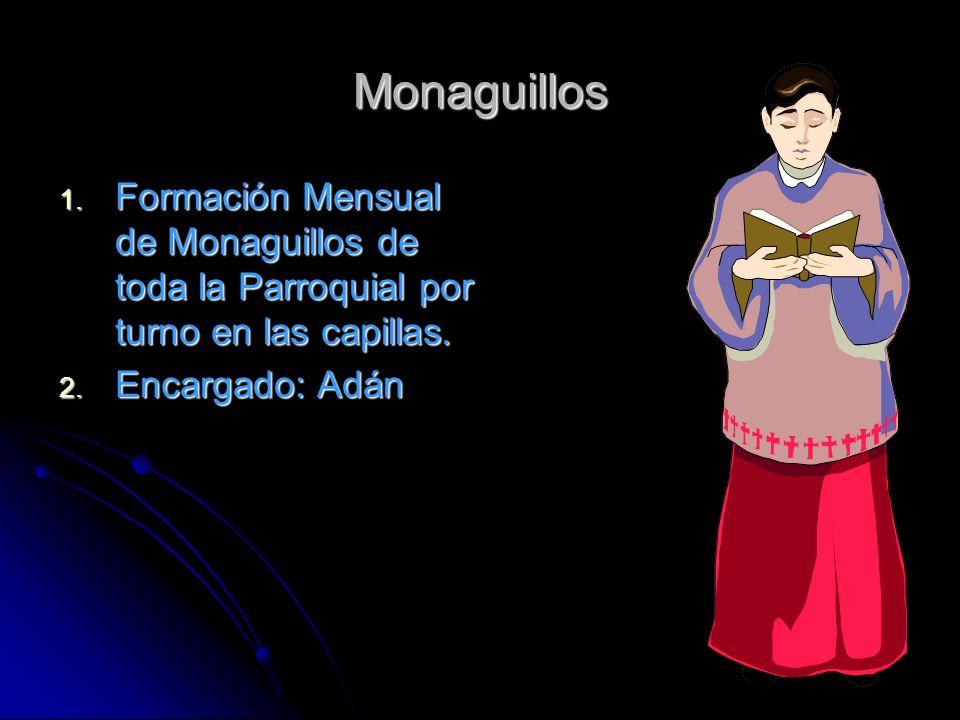 Monaguillos Formación Mensual de Monaguillos de toda la Parroquial por turno en las capillas.