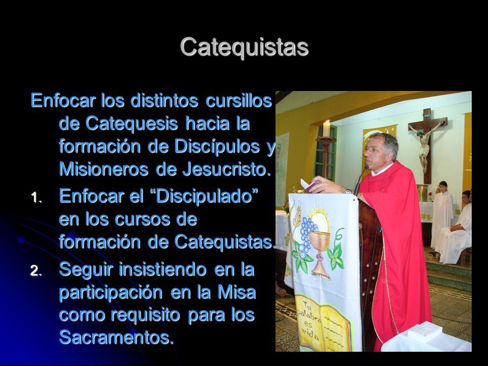 Catequistas Enfocar los distintos cursillos de Catequesis hacia la formación de Discípulos y Misioneros de Jesucristo.