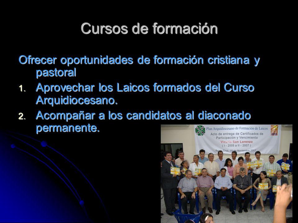 Cursos de formación Ofrecer oportunidades de formación cristiana y pastoral. Aprovechar los Laicos formados del Curso Arquidiocesano.