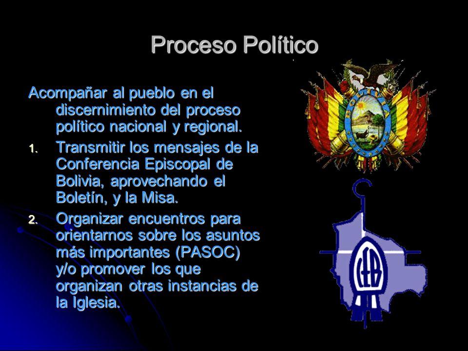 Proceso Político Acompañar al pueblo en el discernimiento del proceso político nacional y regional.