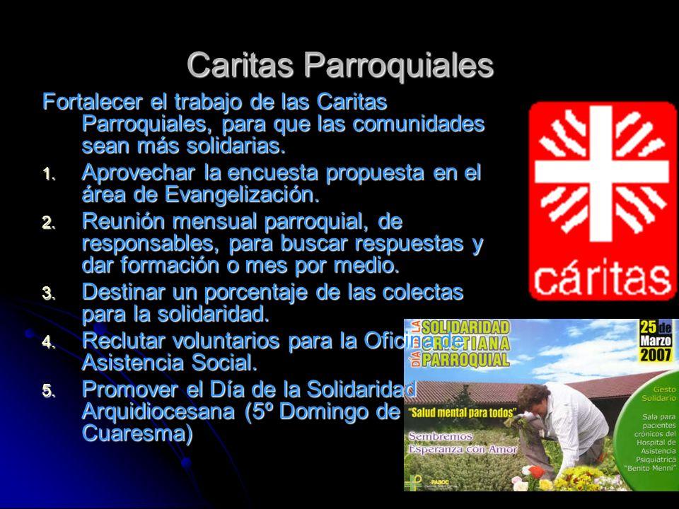 Caritas Parroquiales Fortalecer el trabajo de las Caritas Parroquiales, para que las comunidades sean más solidarias.
