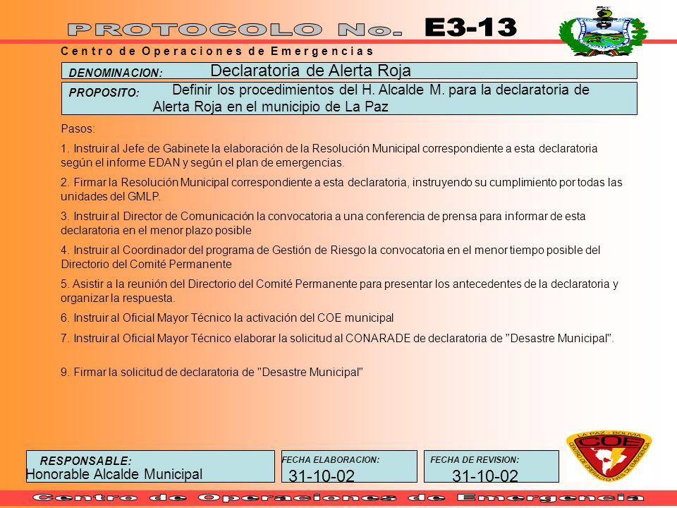 E3-13 Declaratoria de Alerta Roja 31-10-02 31-10-02
