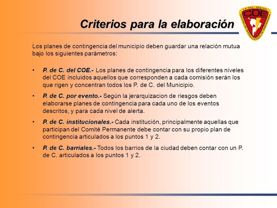 Criterios para la elaboración