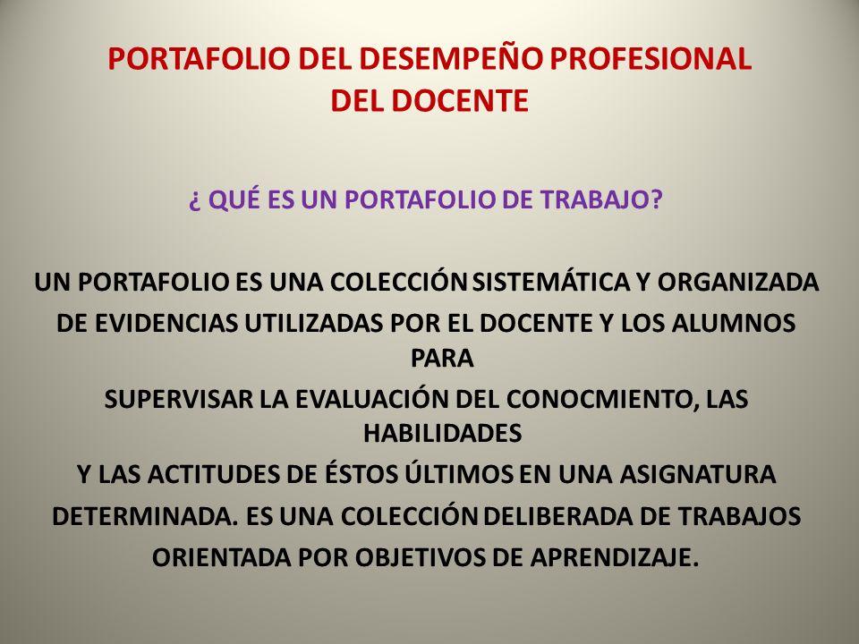 PORTAFOLIO DEL DESEMPEÑO PROFESIONAL DEL DOCENTE