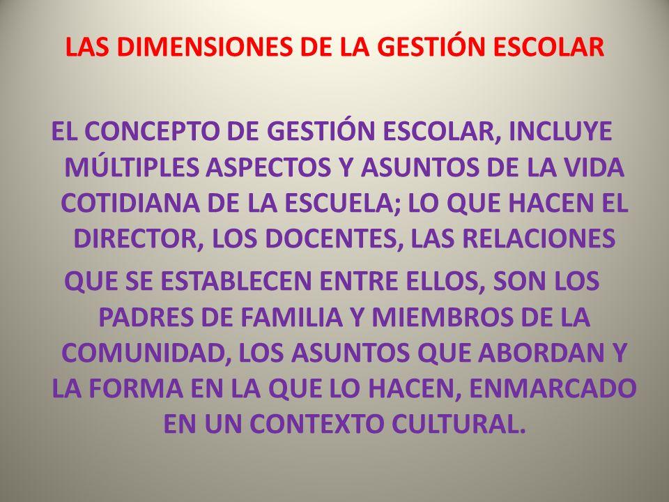 LAS DIMENSIONES DE LA GESTIÓN ESCOLAR
