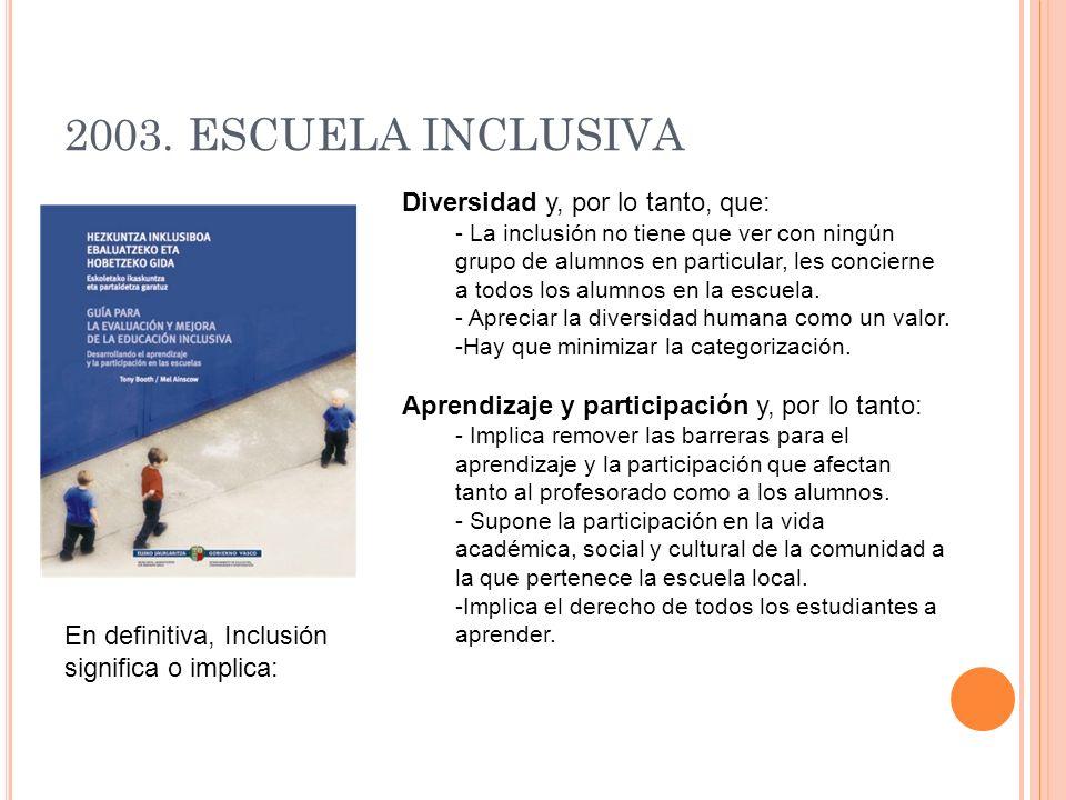 2003. ESCUELA INCLUSIVA Diversidad y, por lo tanto, que: