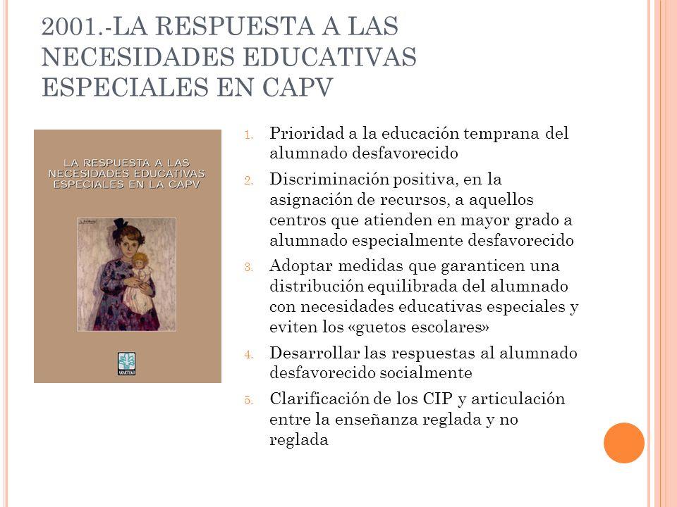2001.-LA RESPUESTA A LAS NECESIDADES EDUCATIVAS ESPECIALES EN CAPV