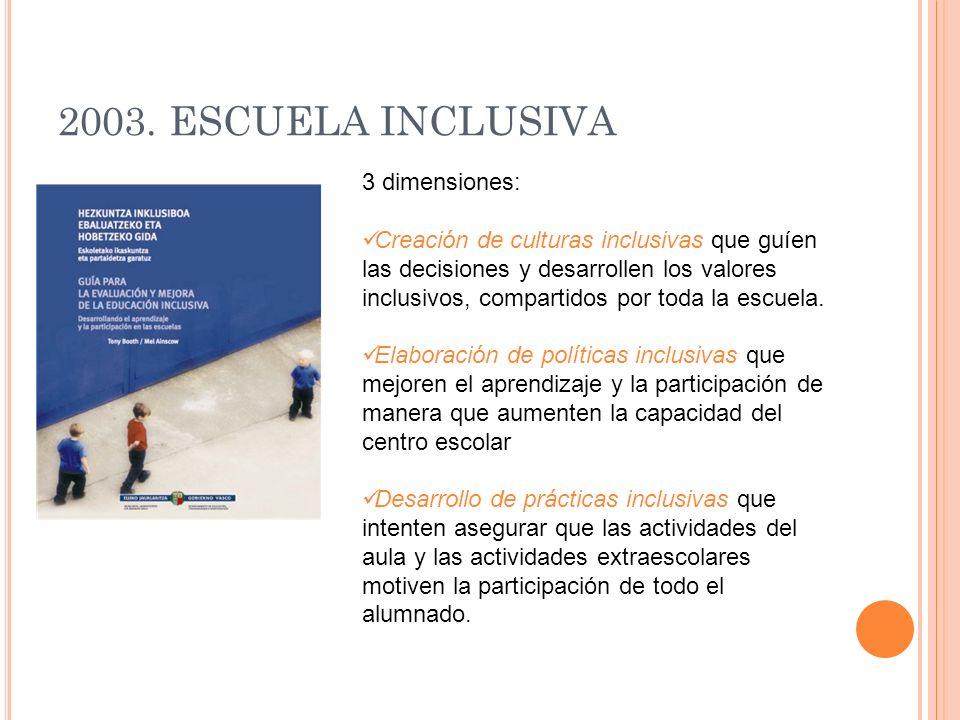 2003. ESCUELA INCLUSIVA 3 dimensiones: