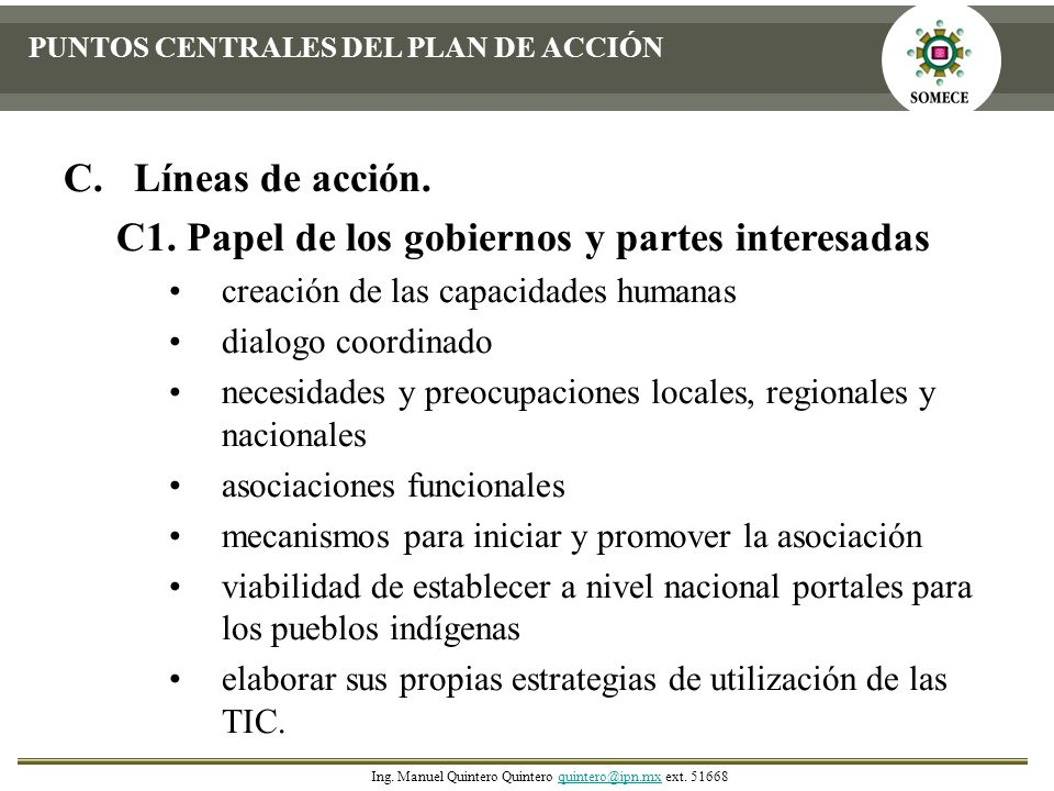 C1. Papel de los gobiernos y partes interesadas