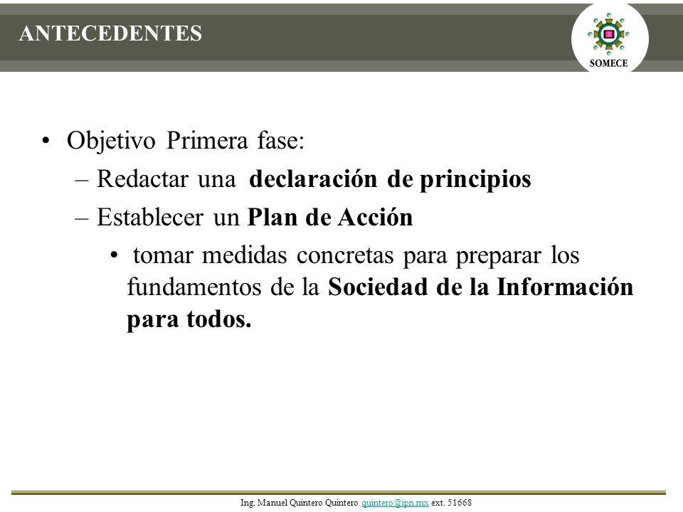 Objetivo Primera fase: Redactar una declaración de principios