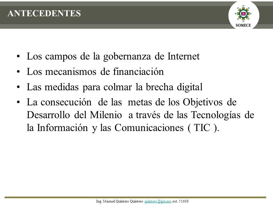 Los campos de la gobernanza de Internet Los mecanismos de financiación