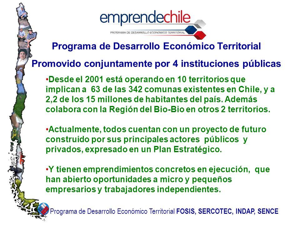 Programa de Desarrollo Económico Territorial Promovido conjuntamente por 4 instituciones públicas