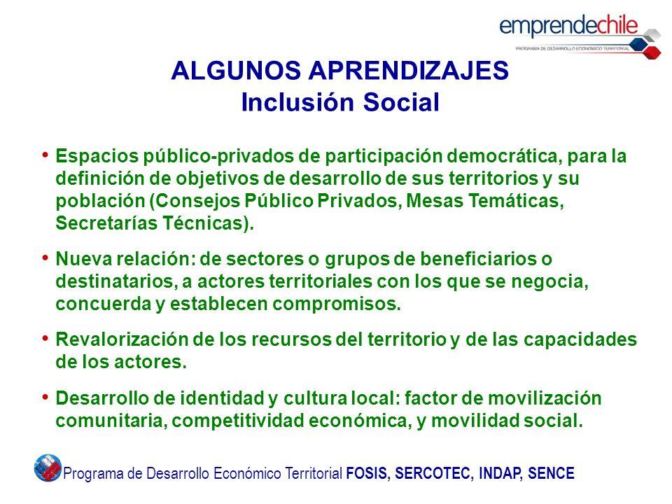 ALGUNOS APRENDIZAJES Inclusión Social