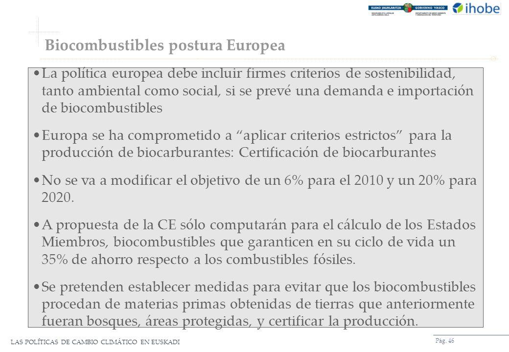 Biocombustibles postura Europea