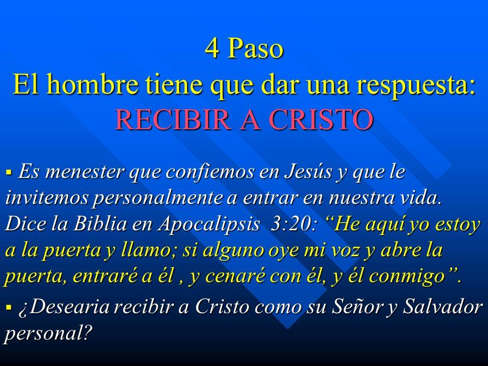 4 Paso El hombre tiene que dar una respuesta: RECIBIR A CRISTO