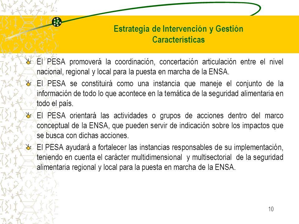 Estrategia de Intervención y Gestión Características
