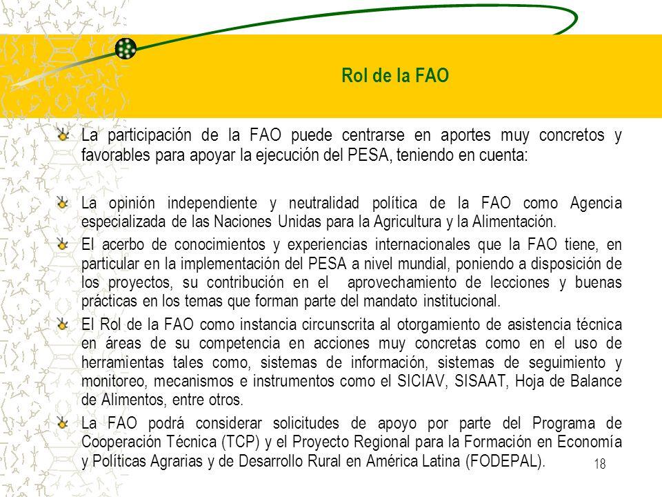 Rol de la FAO La participación de la FAO puede centrarse en aportes muy concretos y favorables para apoyar la ejecución del PESA, teniendo en cuenta: