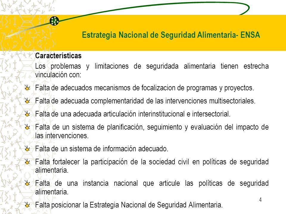 Estrategia Nacional de Seguridad Alimentaria- ENSA