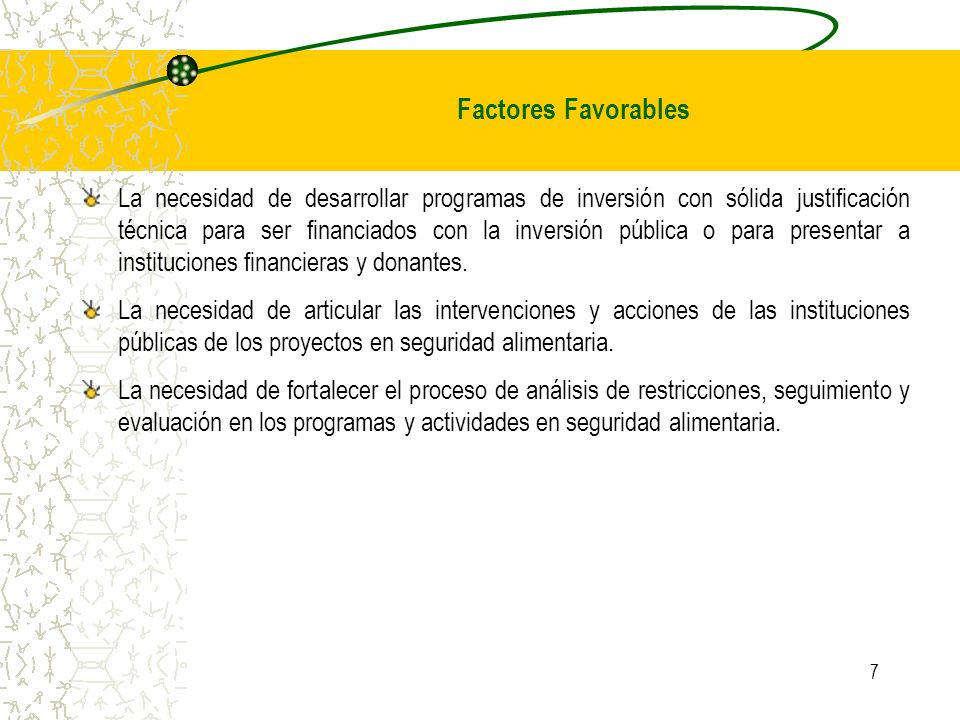 Factores Favorables