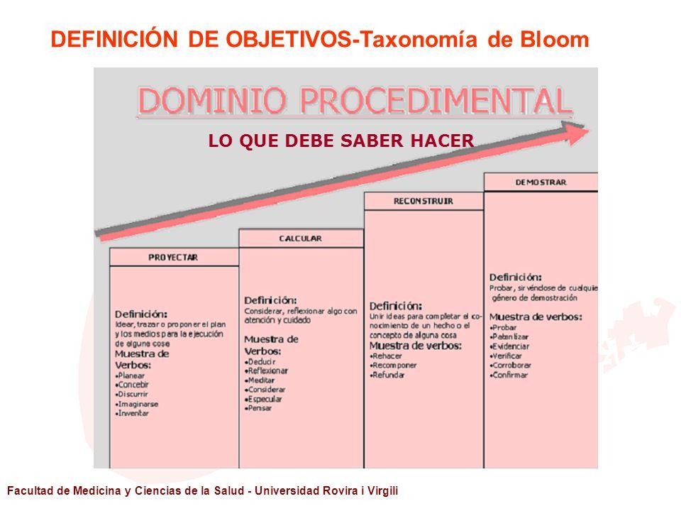 DEFINICIÓN DE OBJETIVOS-Taxonomía de Bloom