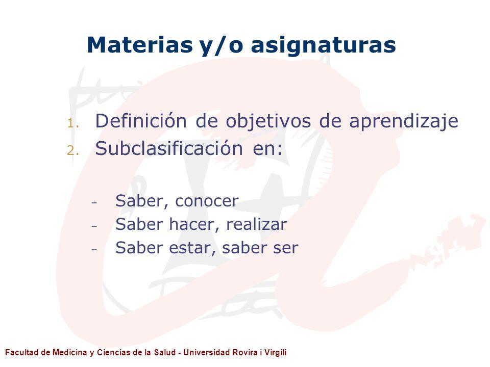 Materias y/o asignaturas
