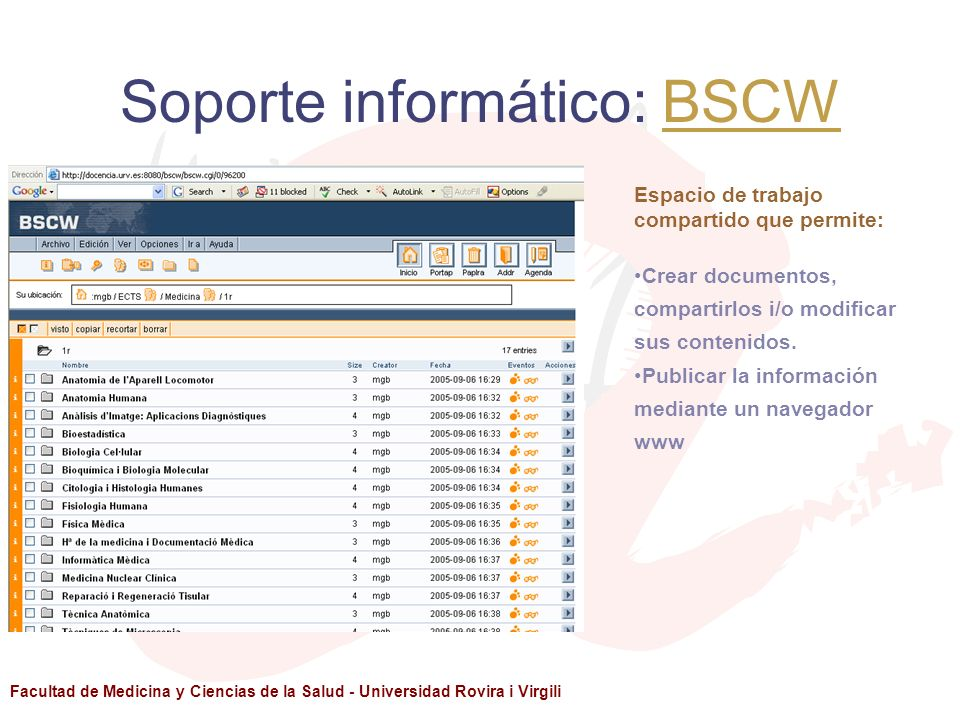 Soporte informático: BSCW