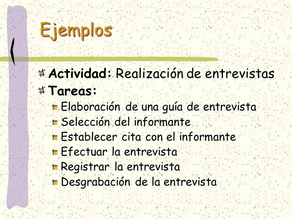 Ejemplos Actividad: Realización de entrevistas Tareas: