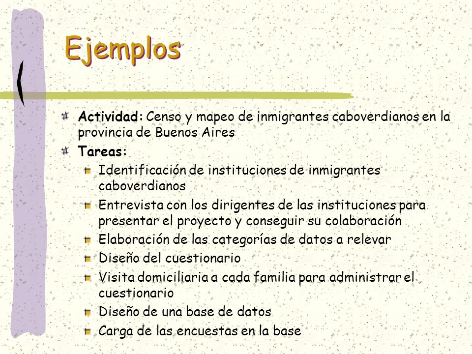 EjemplosActividad: Censo y mapeo de inmigrantes caboverdianos en la provincia de Buenos Aires. Tareas: