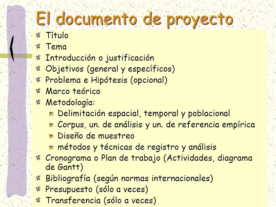 El documento de proyecto
