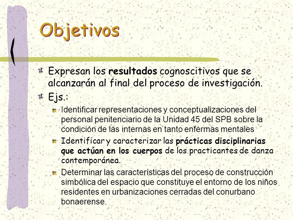 ObjetivosExpresan los resultados cognoscitivos que se alcanzarán al final del proceso de investigación.