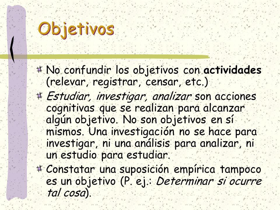 Objetivos No confundir los objetivos con actividades (relevar, registrar, censar, etc.)