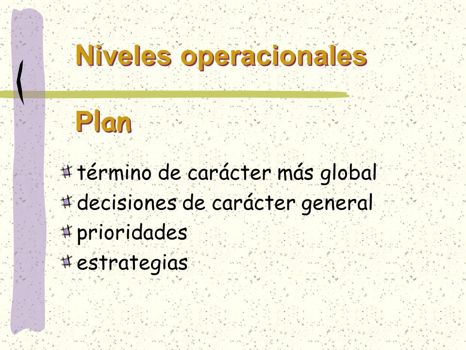 Niveles operacionales Plan
