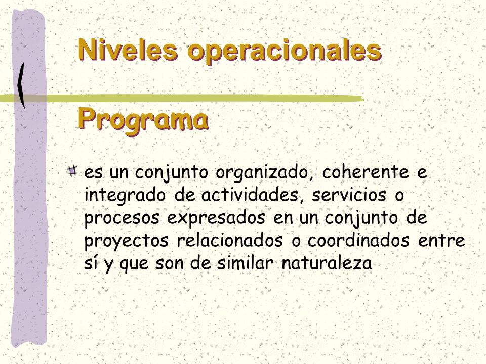 Niveles operacionales Programa